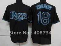 Free shipping-Tampa Bay Rays #18 Zobrist Black Fashion jersey,Rays jerseys,baseball jerseys