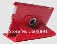 New Ultra Stylish PU Leather 360 Rotating Cover Stand For iPad 2 Case, With Luxury Crocodile Pattern, Free Shipping
