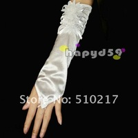 2pair dual-daisy Satin bridesmaid bride gloves fingerless Wedding hook finger banquet lace gloves free ship