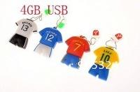 4GB rubber football T-shirt usb 4GB usb flash drive pen drive,usb 2.0 memory,10pcs/lot