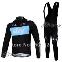 Free Shipping!! MEN'S WINTER CYCLING LONG JERSEY+BIB PANTS BIKE SETS CLOTHES 2012 SKY BLACK&BLUE-SIZE:XS-4XL
