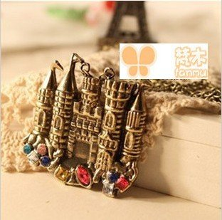 Min order $6, Free shipping,Wholesale,New vintage colorful rhinestone alloy castle long chains necklace,fashion jewelry 24053