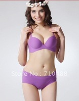 Special Realwill Run micro-simple models of deep sexy smooth solid color one trace gather dress bra