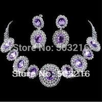 Free Shipping High Quality Austrian Crystal Jewelry Fashion Purple Stone Rhodium Plated Bridal Wedding Jewelry Set