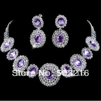 Free Shipping High Quality Austrian Crystal Jewelry Fashion Purple Stone Silver Bridal Wedding Jewelry Set