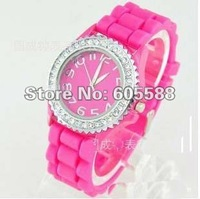 DHL/FedEX Free Shipping 50pcs/lot 2012 New Sports Silicone Watch Wristband,rhinestone Quartz Watch Wholesale