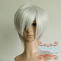 Free shipping!12inches the new fashion cheap silvery white short cosplay wigs wholesalers