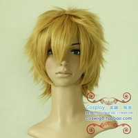 Free shipping 12inches the new fashion golden cheap cosplay wigs wholesalers
