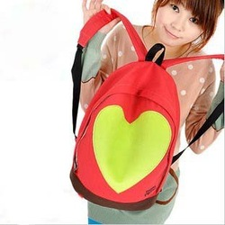 Wholesale - 2012 newest fashion sports backpack canvas material , heart design and casual style travel bag / school backpack(China (Mainland))
