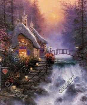 Free shipping Sweetheart cottage Thomas kinkade Art print classic art reproductions discount modern art prints 0094