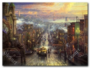 Free shipping The heart of san francisco Thomas kinkade Art prints famous painting reproduction manufacturers modern 0277