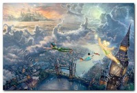 Free shipping Tinker Bell and Peter Pan Fly to Neverla PRINT Thomas kinkade modern home decor landscape paintings 0315