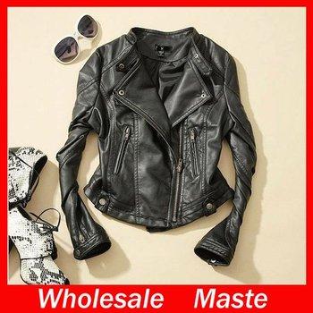 2014 European style women's fashion slim high quality Leather jackets coat  Free shipping