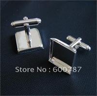 50pcs/lot french 16mm square silver cufflinks blank,  cufflink base, metal cufflinks, fashion jewelry cufflinks
