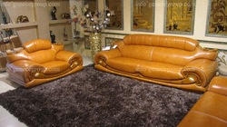 Wooden Leather Sofa Set, 2012 New Model Design, Rubber Wood Furniture(China (Mainland))