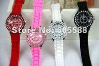 DHL Free Shipping 100 pcs/lot Silicone Watch 4*24CM + Fashion Silicone Ladies Watch Diamond Quartz Watches Wholesale