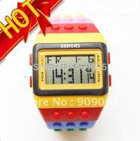 30 pcs/lot Fashion Digital Watch Night Light Waterproof Watch Colorful Shhor Jelly Plastic Candy Rainbow Watch Hot Sale SW09