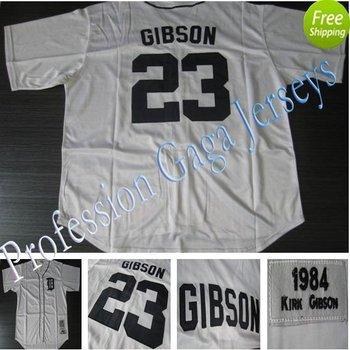 Detroit Tigers Jersey 23 Kirk Gibson 1984 White Throwback Baseball Jerseys 48-56