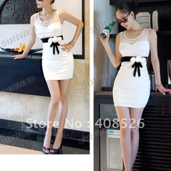 2013 New Sexy Women&#39;s Lady Ball Slim Mini sleeveless Milk Silk + Lace Dress dropshipping 8021(China (Mainland))