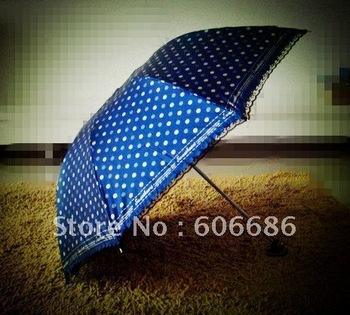 Fashion 3Folding Umbrella Sun and Rain Lady's Lace Gift Umbrella UV Blue Factory Price Umbrella