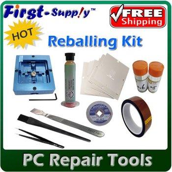 Free shipping, BGA reball pack reballing kit reballing station /80x80mm universal stencils 10pcs/ solder ball /aid tools