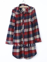 Free shipping  Korean flannel plaid shirt female models, long-sleeved shirt