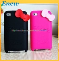 Free shipping Hello Kitty Case Soft Silicone Cover For for iphone touch 4 4G 4TH