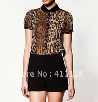 Free shipping 2012 new leopard chiffon vintage lapel short-sleeved blouses