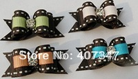 MOQ 100pcs can mix colors,lovely crystal ribbon pet barrettes dog hairclip