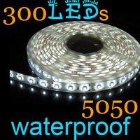 Free Shipping  Promotion New 100% 1Pcs 5050 Cool White LED Strips Flexible Tape 5m 60led/m 300leds Waterproof IP65+Wholesale