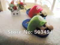 Free Shipping EMS Super Mario LUIGI Soft Plush Stuffed Warm Slipper Super mario slippers Super mario and luigi slippers