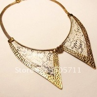 Free shipping,203 wholesales` Faux Python skin  metal  necklace,Decorative metal collar,Triangle metal collar ,necklace