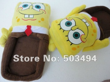 "Free Shipping Cartoon SpongeBob Squarepants Cosplay Adult Plush Stuffed Woman Slippers 11"" SpongeBob Squarepants slippers"