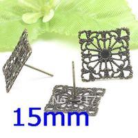 200pcs 15mm Antique Bronze Copper Earring studs tray,Brass stud earrings accessories,earrings base setting