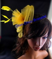 Freeshipping wholesale 6pcs a lot Party FASCINATOR hat feather netting Veils handmade hair decoration hair bands HZ22YE
