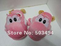 Pink Super Mario Yoshi Plush Toys Slippers, Indoor Slipper,PInk Yoshi Plush Doll Toys Slippers