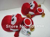 Free shipping 1 pair  Super Mario Red Yoshi Plush Slippers 11 inch