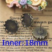 100pcs 18mm Antique Bronze Copper Earring studs Lace tray,Brass stud earrings accessories,earrings base setting