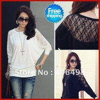 Free shipping women's 2012 new bat shirt sexy lace net yarn fashion round neck loose yards bat sleeve T-shirt top SWS084