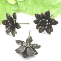 100pcs Antique Bronze Copper Earring studs Flower Cameo,Brass earring pin accessories,earrings base setting