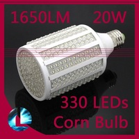 2pcs/lot Free shipping 20W 330 LED Corn light bulb E27 led lighing Daylight lamp warm/cool white light  220V/110V 360 degree
