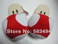 Free Shipping 1 pair  Adult Size Super Mario red Mushroom Plush Slippers Red mushroom slippers Mushroom plush slipper plush toy