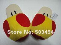 Free Shipping 1 pair  Super Mario Brothers Orange Mushroom Plush Slipper Gold mushroom slipper Golden mushroom slippers toy