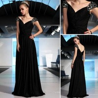 free shipping mysterious black deep V collar Halter bright silk evening dress christmas party prom evening dress