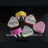 Colorful UK Plug adapter , UK Wall Charger for iPhone 3g 3gs 4g 4gs 100pcs/lot Free shipping by dhl
