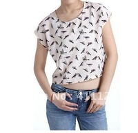 Free shipping 2012 spring and summer birds pattern solid color short  chiffon shirt