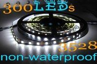 2012 High Quality New Cheap 1Pcs 3528 Cool White LED Strips Black PCB 5m 60led/m 300leds Nonwaterproof IP20+Free Shipping