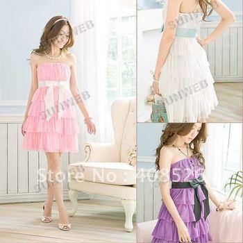 Free shipping 2014 fashion charm cake Laminated Off the Shoulder Tube Dress Chiffon Ribbon dress 3689