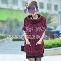 BG091 2012 New Style 3 Colors Genuine Rabbit Poncho Winter Women Sexy Fur Knitted Hoody OEM Wholesale/Retail