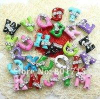 Wholesale 1300pcs 8mm Mix Color  A-Z Slide letters with Bow tie  DIY Accessories fit pet collars Wristbands Belts